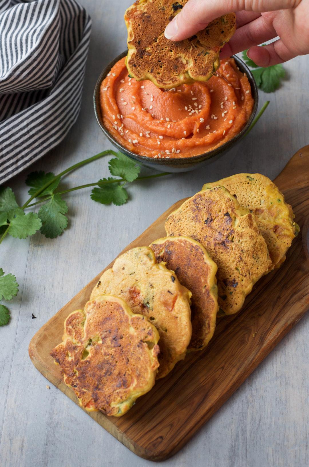 Veggie Cakes with a Sweet Potato Dip