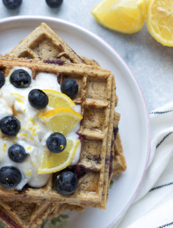 Lemon Blueberry Waffles - Wanders and Greens